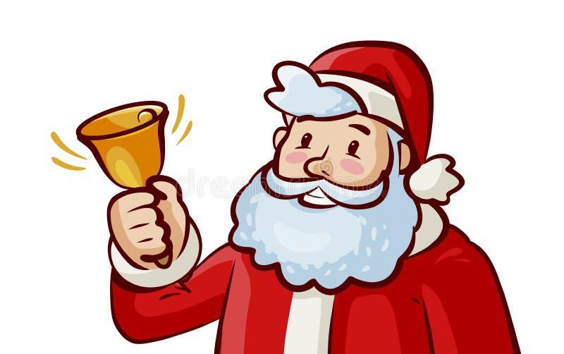 Campana de sonido feliz de Santa Claus Jingle Bells La Navidad, Navidad, concepto del Año Nuevo Ilustración de la historieta del  stock de ilustración