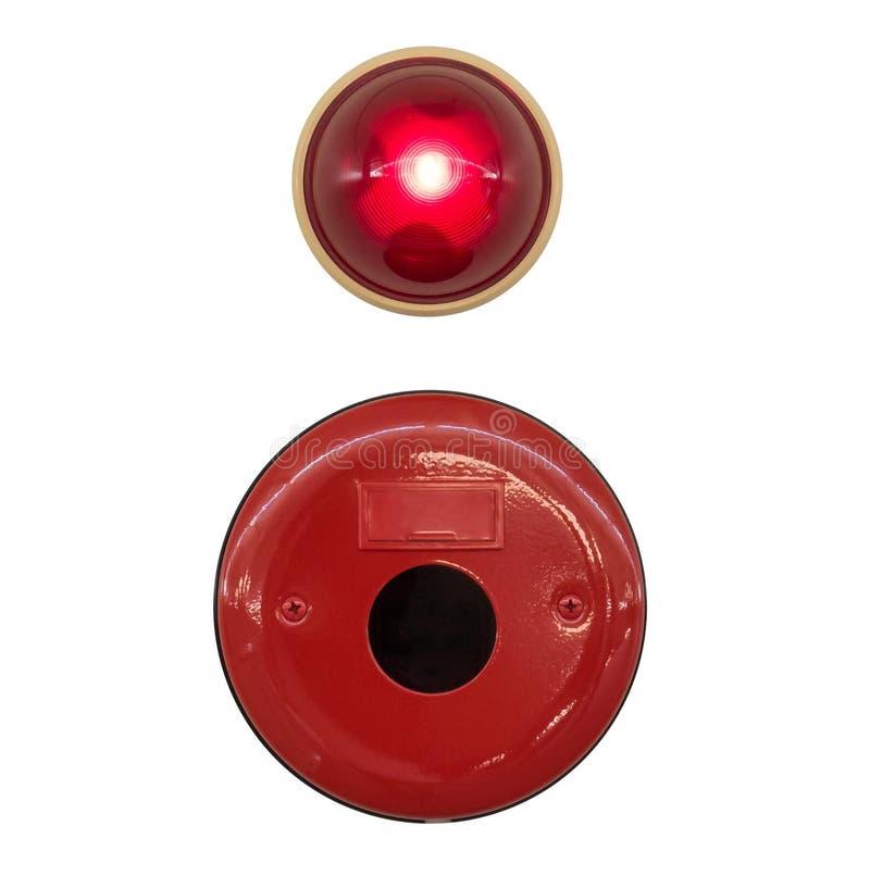 Campana di allarme antincendio rossa con luce isolata immagini stock libere da diritti