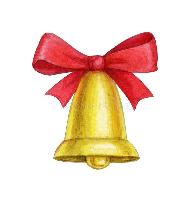 Campana di natale dell'acquerello royalty illustrazione gratis
