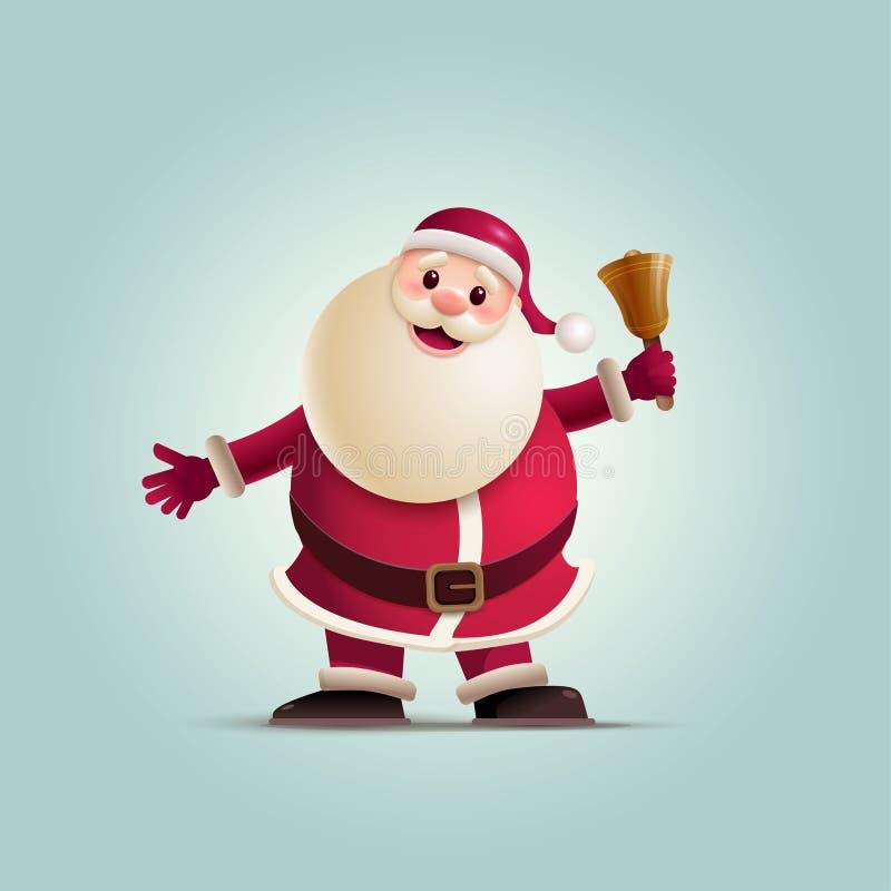 Campana di Natale della tenuta di Santa Claus illustrazione di stock
