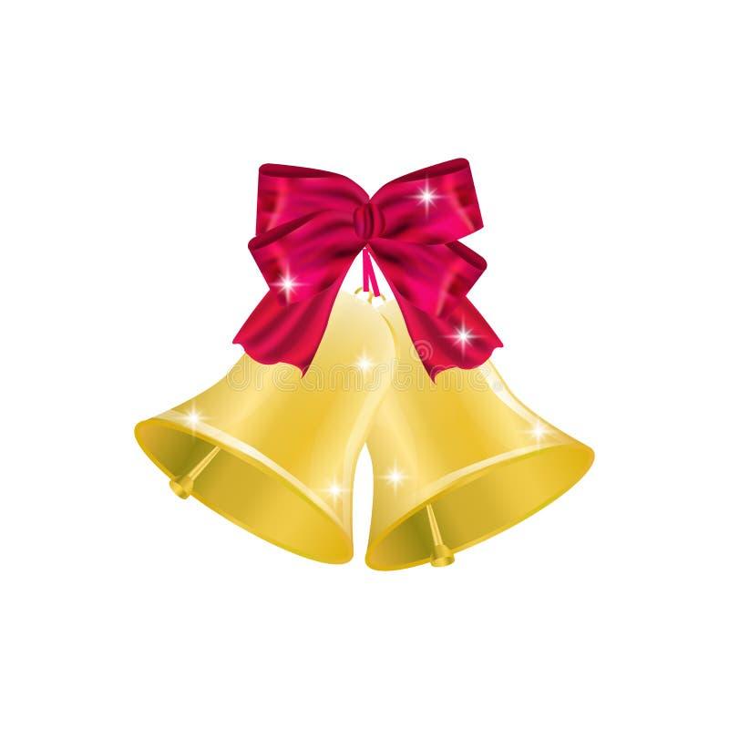 Campana di Natale dorata con il nastro e l'arco rossi Decorazione di natale Ruota dentata illustrazione di stock