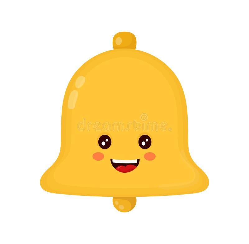 Campana feliz sonriente linda del oro Vector plano stock de ilustración