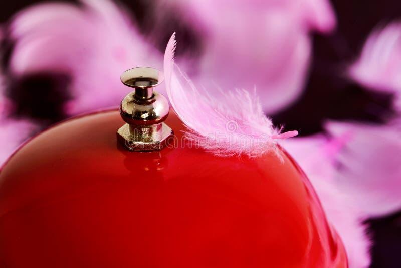 Campana y plumas rojas fotografía de archivo libre de regalías