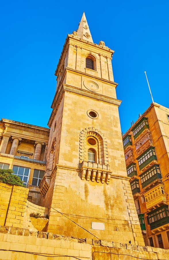 Campanario de la Favorable-catedral anglicana en La Valeta, Malta fotografía de archivo libre de regalías