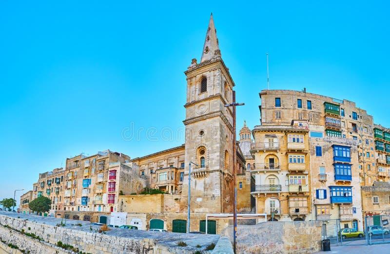 Campanario de la Favorable-catedral anglicana, La Valeta, Malta imagen de archivo libre de regalías