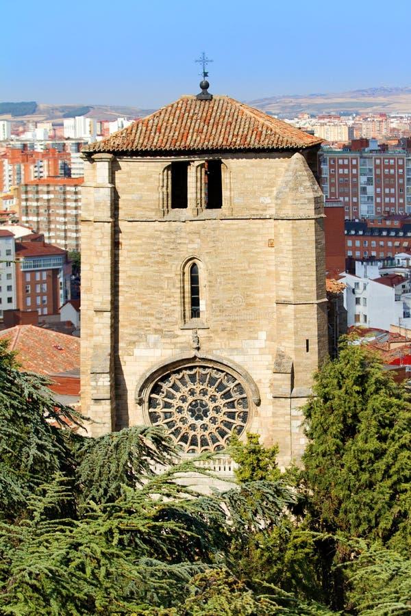 Campanario de la iglesia de San Esteban, Burgos. España imagen de archivo