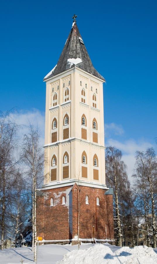 Campanario de una iglesia. Iglesia Santa María. Lappeenranta.   imagen de archivo libre de regalías