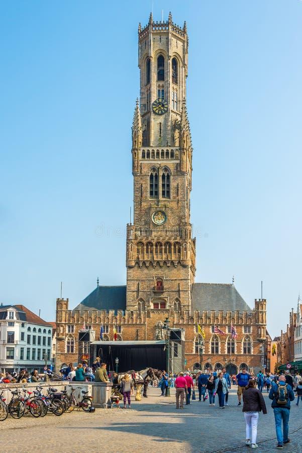 Campanario en el lugar de Brujas en Bélgica fotografía de archivo libre de regalías