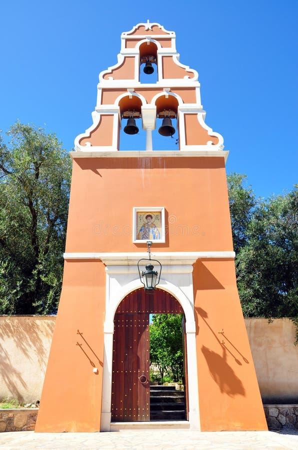 Campanario en el monasterio, la isla de Corfú, Grecia imágenes de archivo libres de regalías