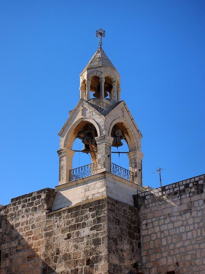Campanario, iglesia de la natividad, Belén imagen de archivo libre de regalías