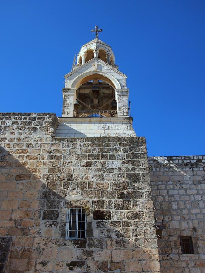Campanario, iglesia de la natividad, Belén fotos de archivo