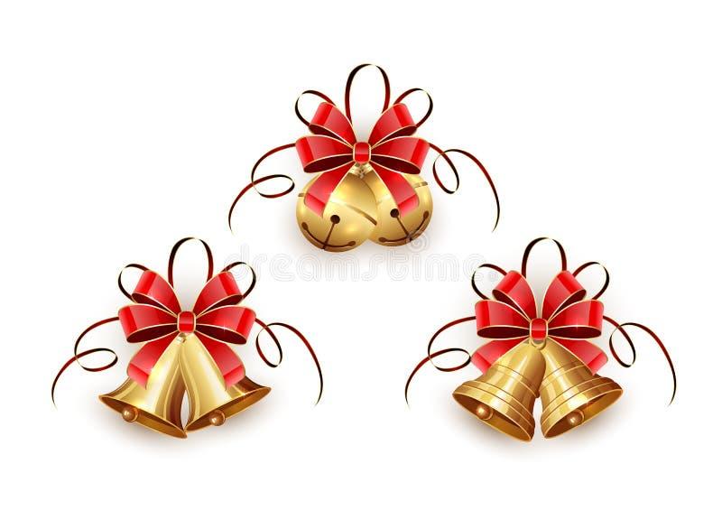 Campanas de la Navidad de oro con la cinta roja libre illustration