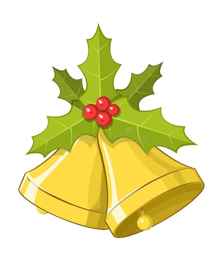 Campanas de la Navidad del vector con las bayas del acebo stock de ilustración