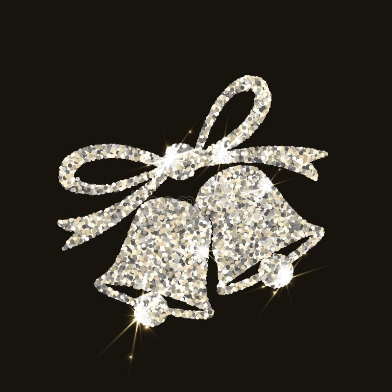 Campanas de la Navidad en el estilo de plata con las llamaradas en fondo oscuro imagen de archivo libre de regalías
