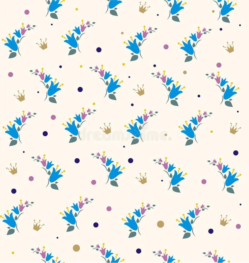 Campanas y coronas de las flores stock de ilustración
