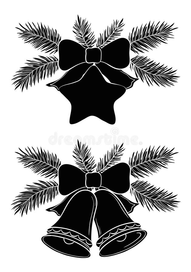 Campanas y estrella de la Navidad stock de ilustración