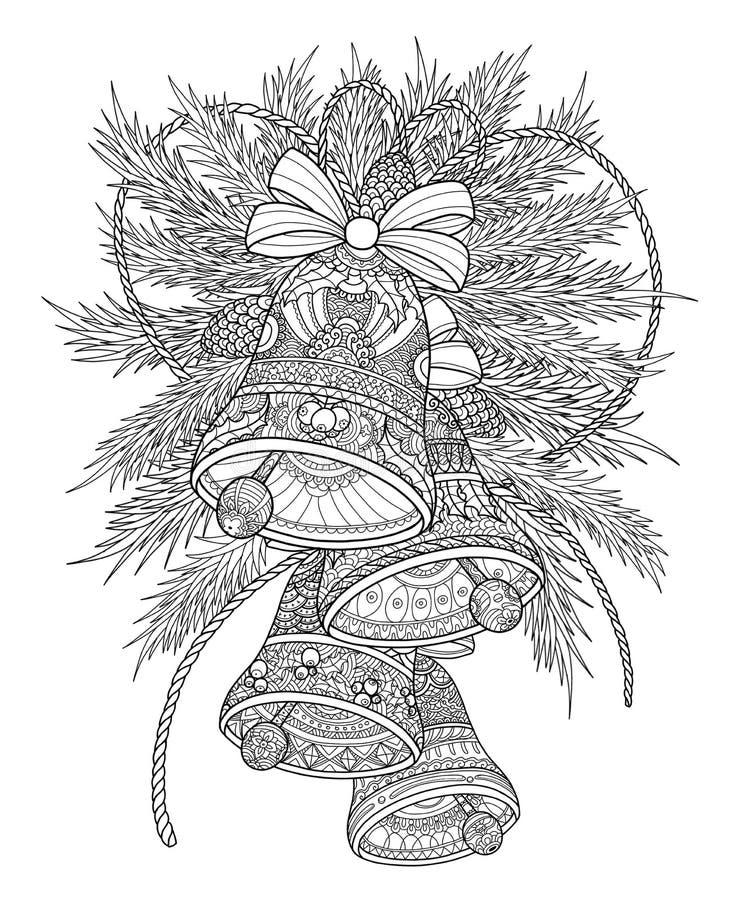 Campane di Natale con le decorazioni dell'albero di Natale illustrazione vettoriale