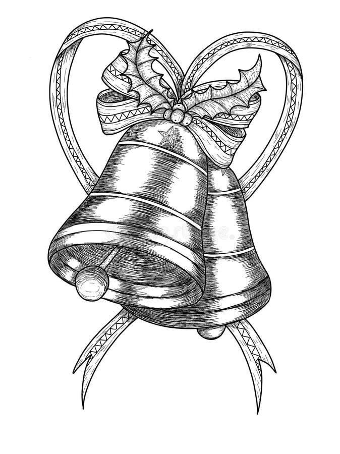 Campane di Natale con le decorazioni dell'albero di Natale illustrazione di stock