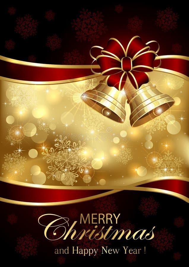 Campane di Natale ed arco rosso su fondo dorato illustrazione di stock