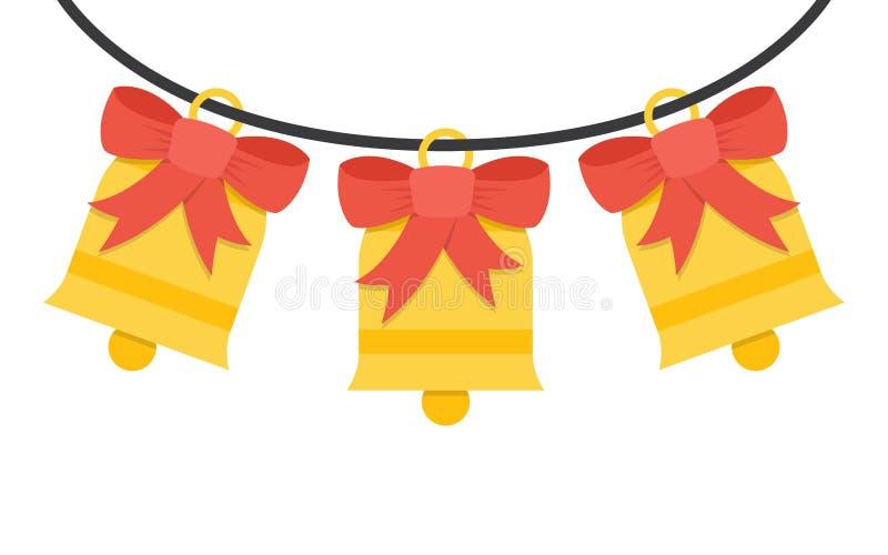 Campane di tintinnio con l'arco rosso su un fondo bianco illustrazione vettoriale