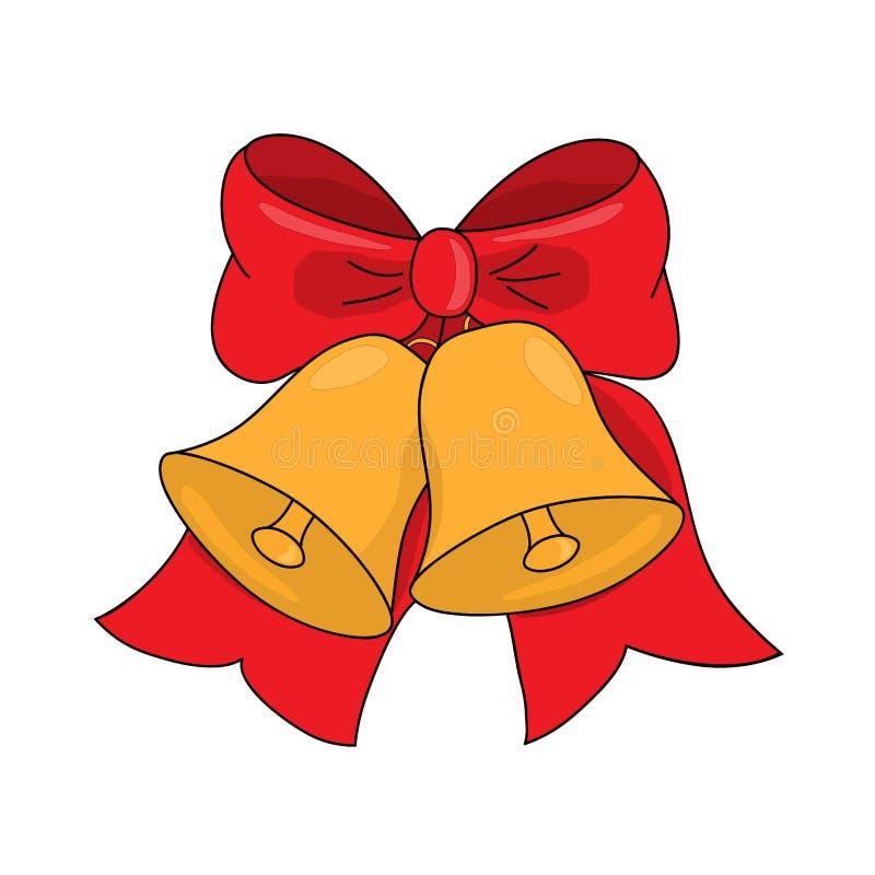 Campane di tintinnio di Natale con l'arco rosso su bianco, illustrazione di vettore illustrazione vettoriale