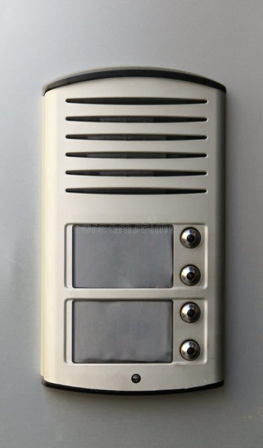 Campanello con il microfono del citofono fotografia stock