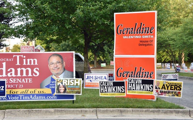 A campanha de eleições primárias assina Maryland fotos de stock