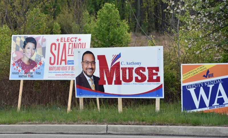 A campanha de eleições primárias assina Maryland fotografia de stock