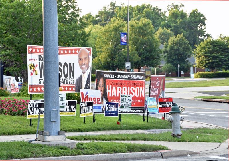 A campanha de eleições primárias assina Maryland foto de stock