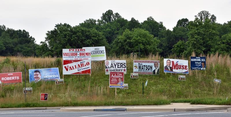 A campanha de eleições primárias assina North Carolina fotografia de stock royalty free