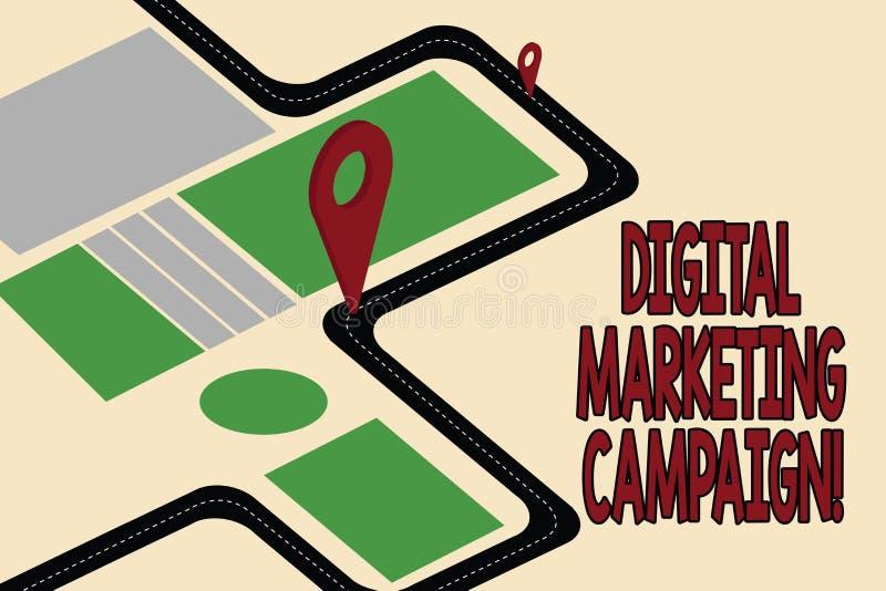 Campanha de marketing de Digitas do texto da escrita Esforço de mercado em linha do significado do conceito para anunciar o mapa  ilustração do vetor