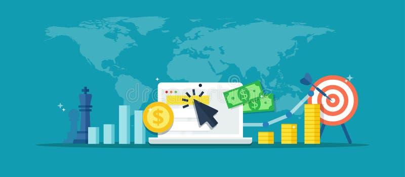 Campanha de publicidade online - ilustração abstrata no estilo liso Bandeira do mercado do Internet Conceito da estratégia, e-com ilustração stock