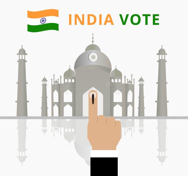 Campanha do dia de eleição da Índia para os povos ou o eleitor indiano cobertos no dedo ao sinal marcado ou de votação para o gov ilustração royalty free