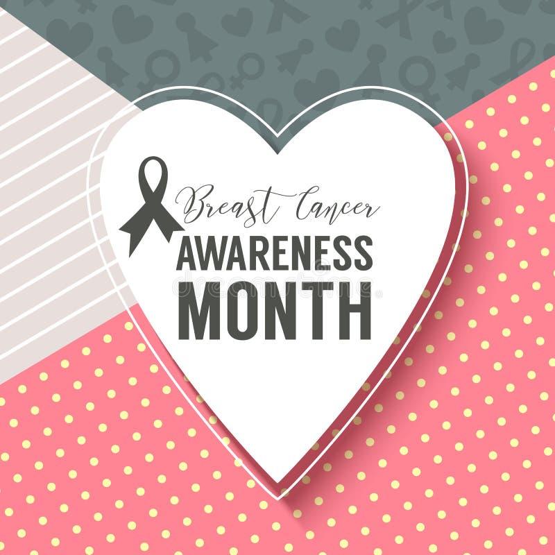 Campanha do fundo do mês da conscientização de outubro do câncer da mama ilustração do vetor