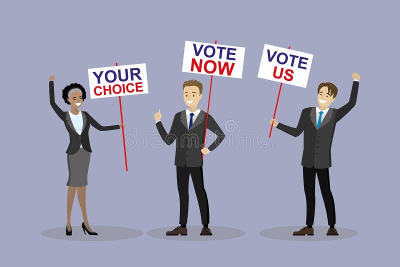 Campanha eleitoral, pessoa com placas ilustração do vetor