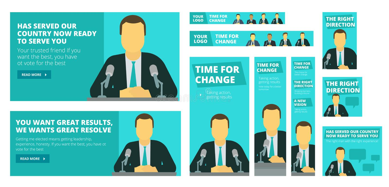 Campanha eleitoral política Político ou homem de negócios que falam antes de um microfone ilustração royalty free