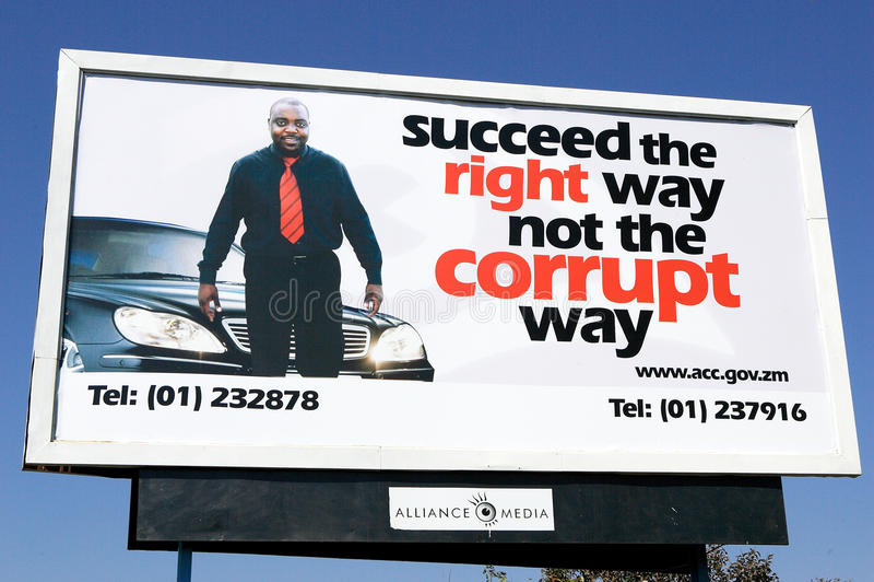 Campanha extensamente divulgada de Corruption, Zâmbia fotos de stock royalty free