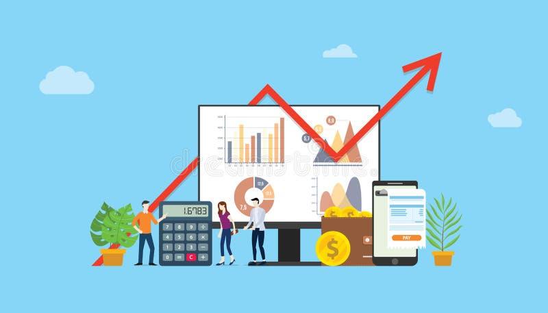 Campanha financeira do orçamento de mercado de Digitas para anunciar os povos da equipe que trabalham junto com o gráfico e a car ilustração do vetor