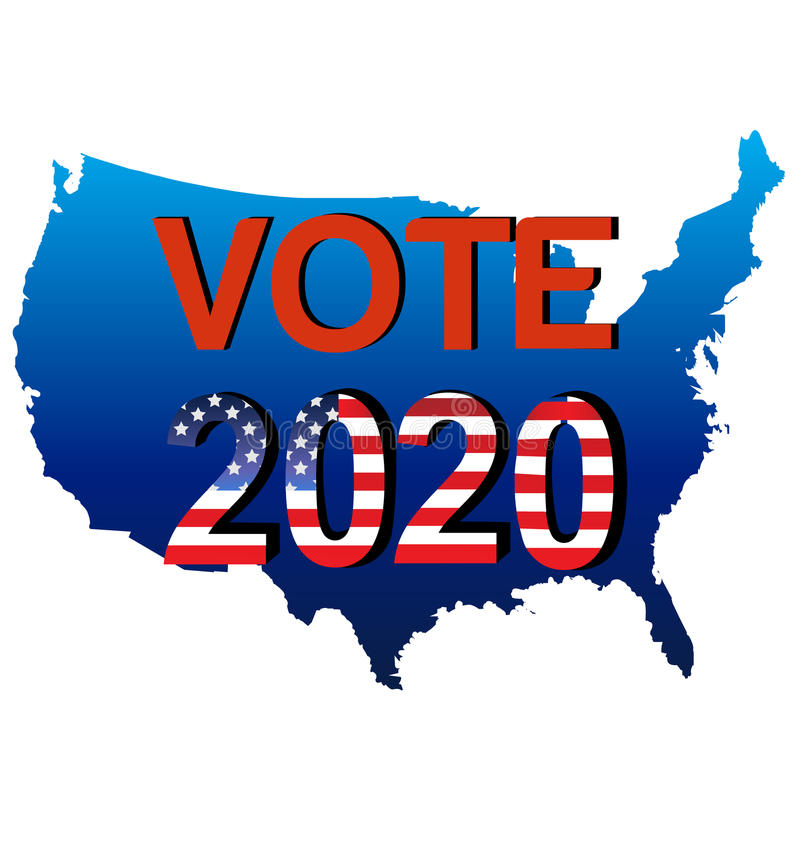 Campanha politica dos EUA do voto 2020 ilustração stock