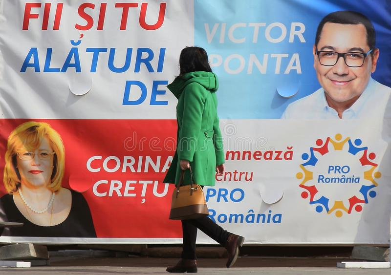 Campanha pré-eleitoral para eleições parlamentares europeias - Romênia fotografia de stock