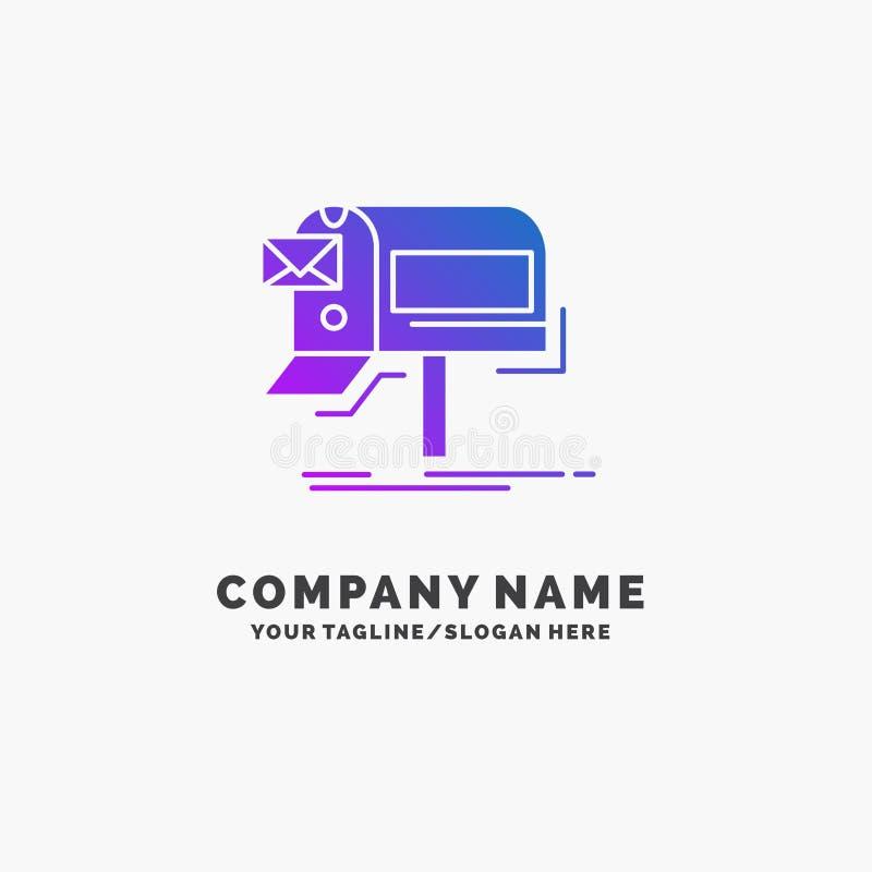 campanhas, e-mail, mercado, boletim de notícias, negócio roxo Logo Template do correio Lugar para o Tagline ilustração stock