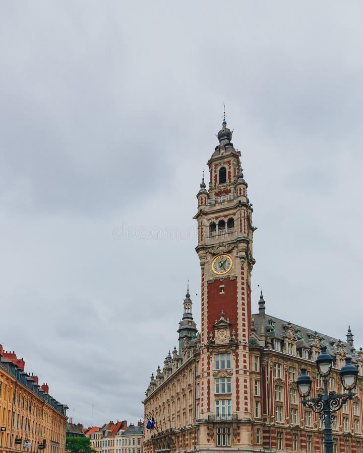 Campanile della camera di commercio a Lille del centro, Francia immagini stock libere da diritti