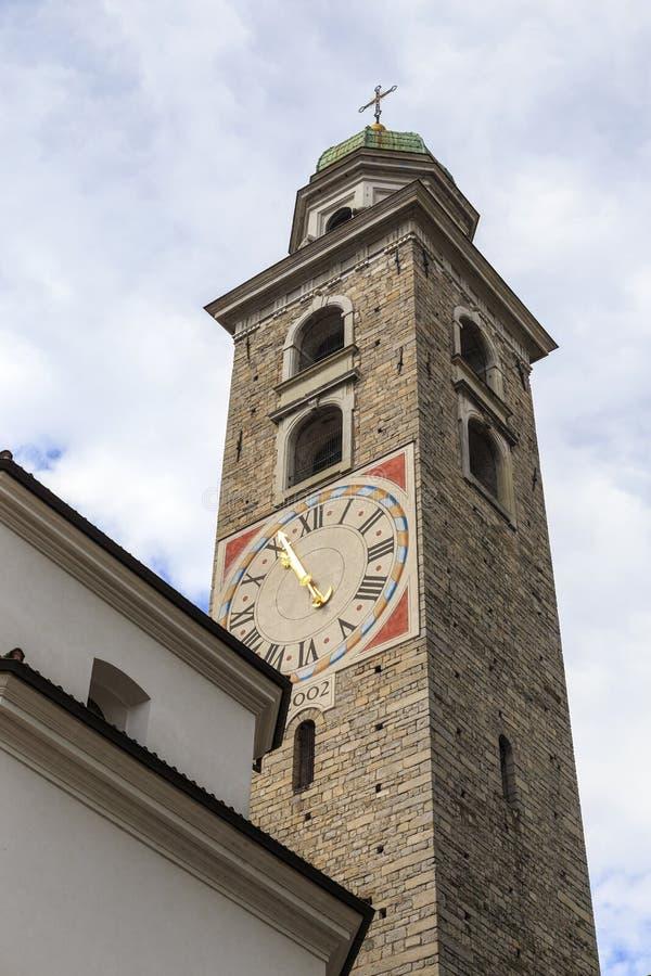 Campanile della cattedrale di St Lawrence a Lugano fotografia stock libera da diritti