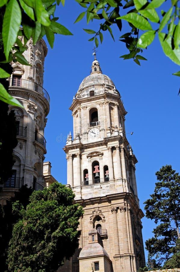 Campanile della cattedrale, Malaga, Spagna. immagini stock
