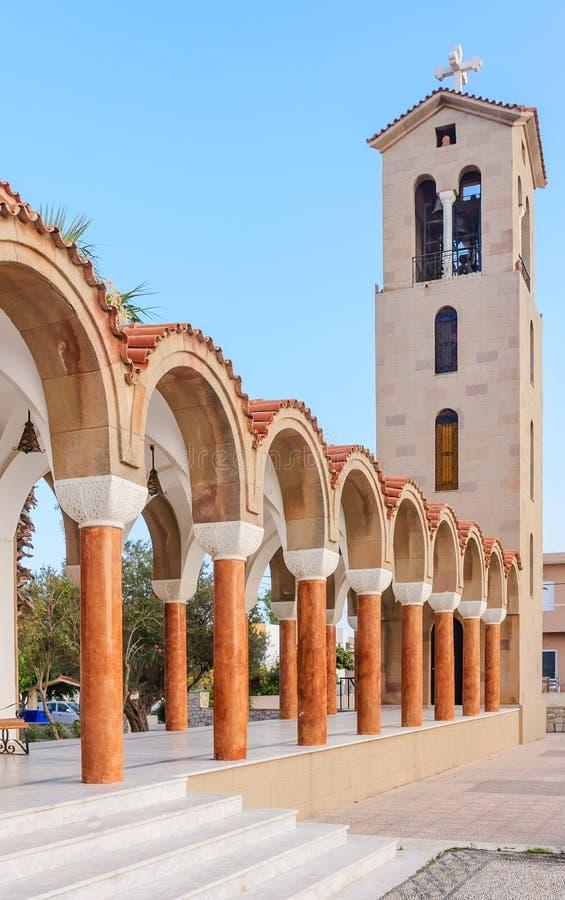 Campanile della chiesa del san Nektarios Faliraki rhodes fotografia stock libera da diritti