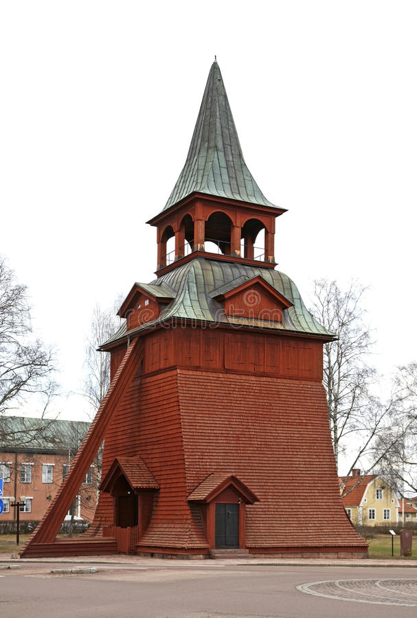 Campanile della chiesa dell'arcangelo Michael in Mora sweden fotografia stock
