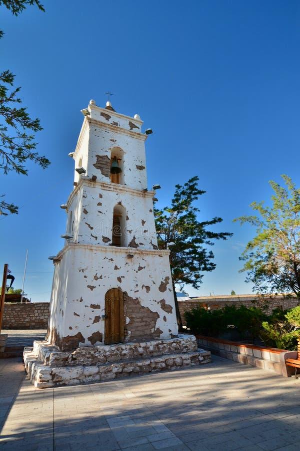 Campanile di Campanario de San Lucas o di San Lucas Toconao Provincia di San Pedro de Atacama chile immagini stock