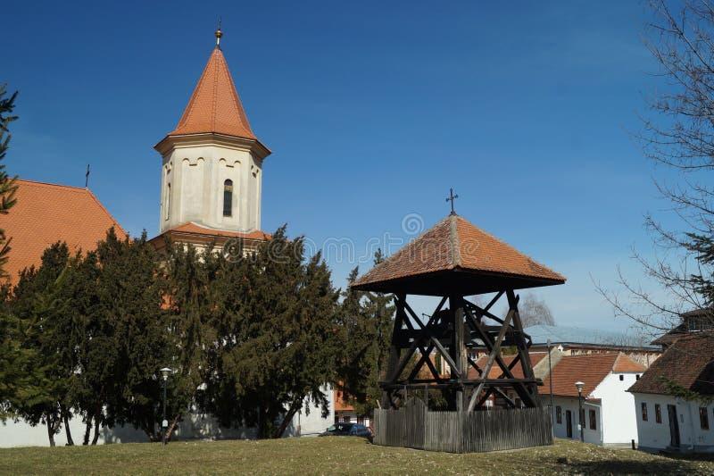 Campanile di legno, san Nicholas Church immagine stock