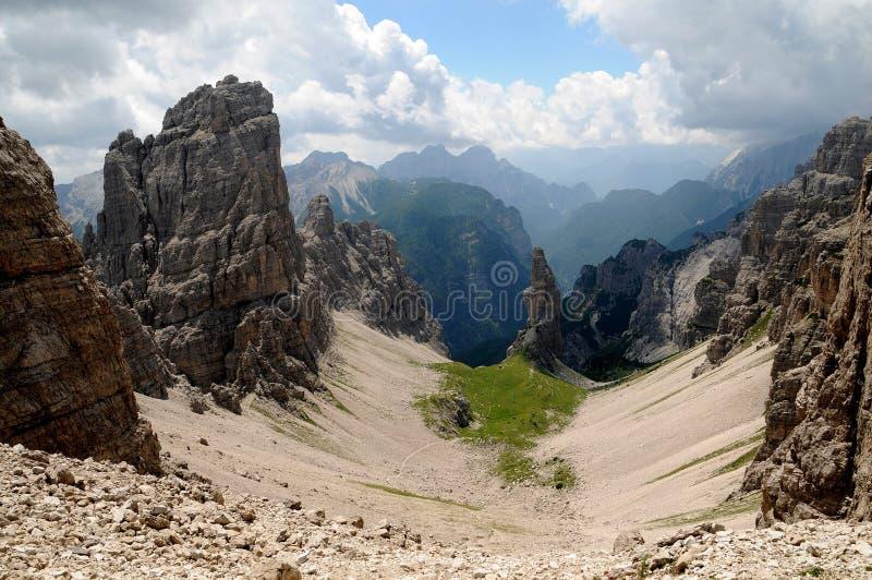 Campanile Di Val Montanaia 2173 m, Italië stock afbeeldingen