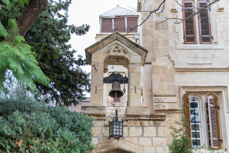 Campanile nel monastero di Maronite nella vecchia città di Gerusalemme, Israele fotografie stock libere da diritti